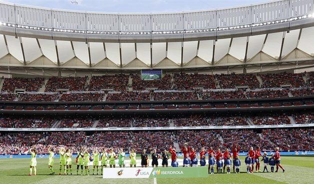 UGT celebra la asistencia masiva al partido de fútbol femenino entre Atlético de Madrid y al FC Barcelona
